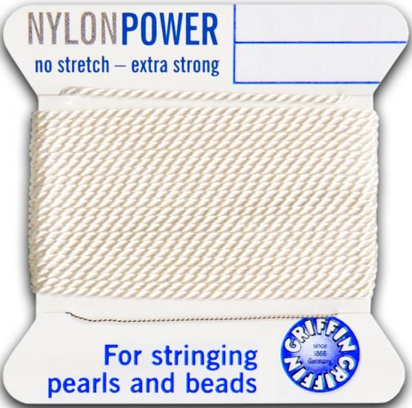 Nylon Power weiß, Nr. 2 - Durchm. 0,45mm, - 2m