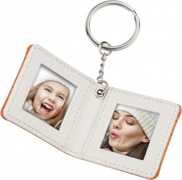Schlüsselanhänger Foto zum aufklappen (orange)