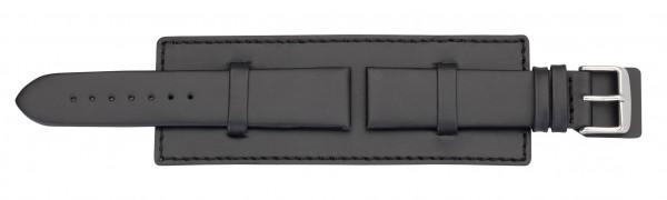 Lederband mit Unterlage - schwarz