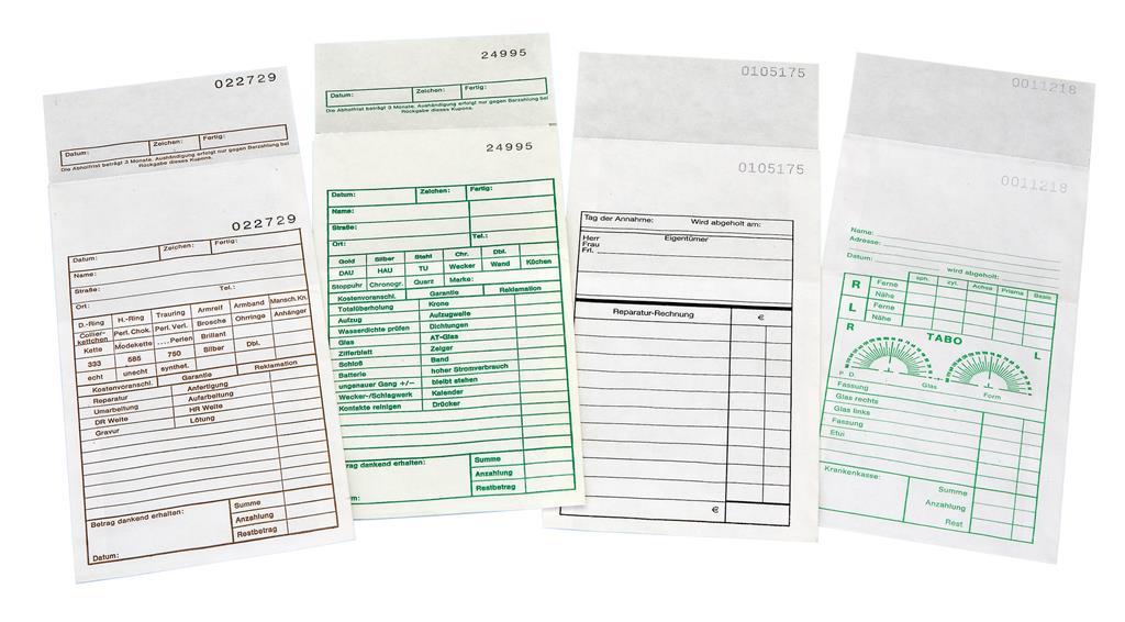 Reparaturtüten aus 60g Papier für Schmuck /& Uhren 200 Reparaturbeutel