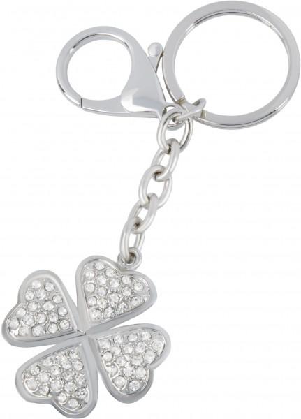 Schlüsselanhänger Kleeblatt mit Steinchen