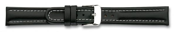 Lederband mit weisser Naht schwarz