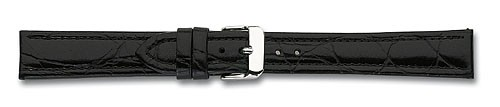 Lederband mit Krokoprägung schwarz