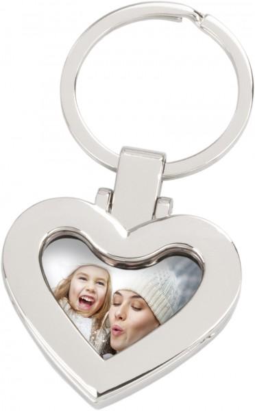 Schlüsselanhänger mit Foto, herzförmig