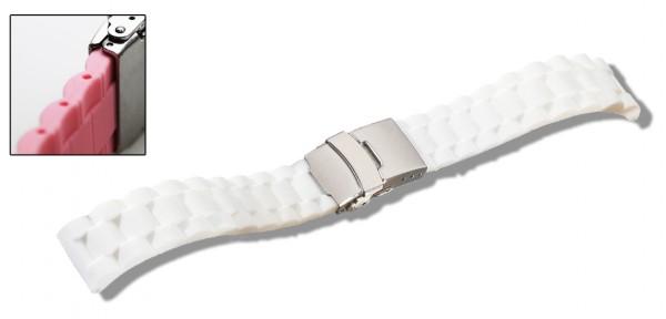 Silikon-Band mit Faltschließe weiß