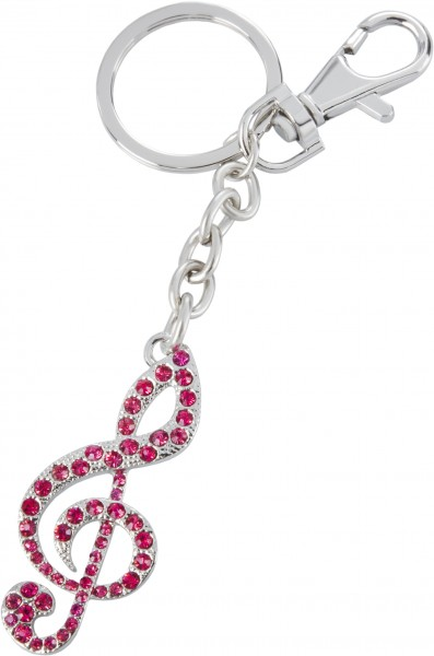 Schlüsselanhänger Notenschlüssel rosa Steinchen