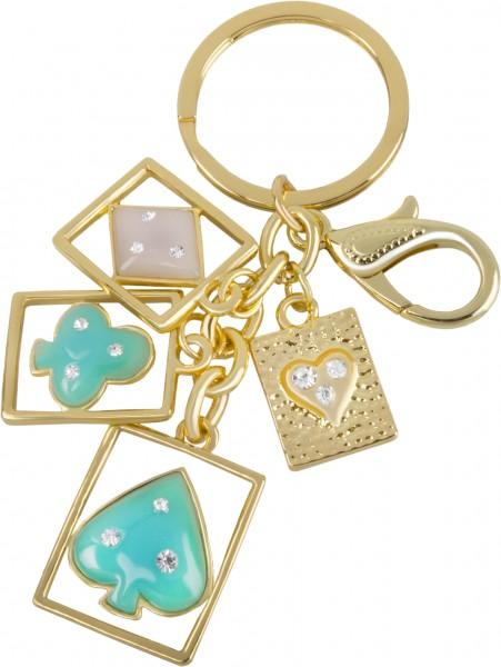 Schlüsselanhänger Kartenspiel vergoldet