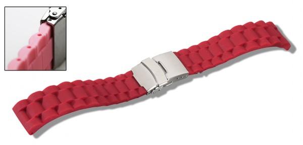Silikon-Band mit Faltschließe rot