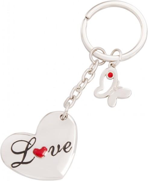 Schlüsselanhänger Herz (Love) mit Schmetterling