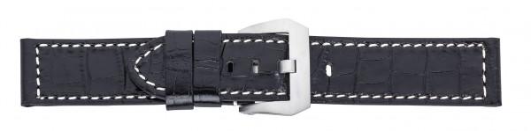 Lederband mit Alligatorprägung schwarz