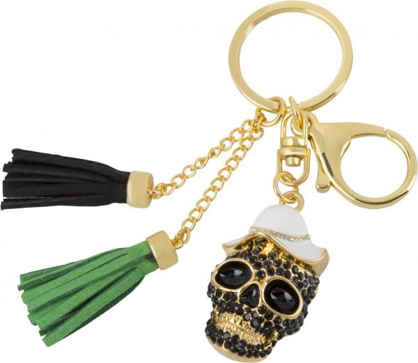 Schlüsselanhänger vergoldet Totenkopf