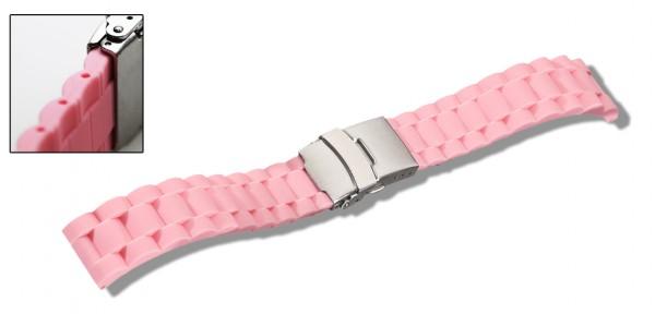 Silikon-Band mit Faltschließe rosa
