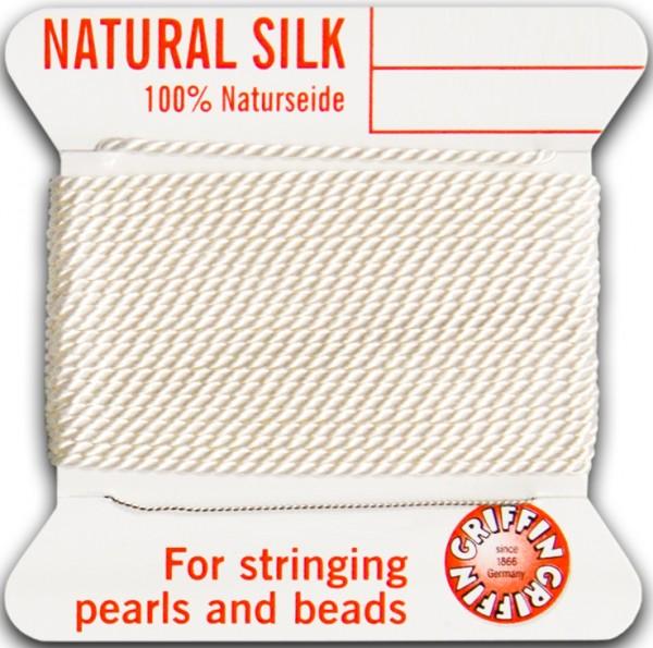Perlseide weiß, Nr. 4 - Durchm. 0,60mm, - 2m