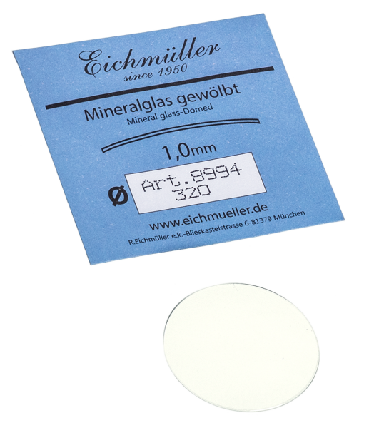 Mineralglas gewölbt, Stärke 1.0mm (170-350)